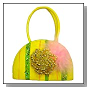 Yellow Beads & Fur Princess Purse Christmas Ornament