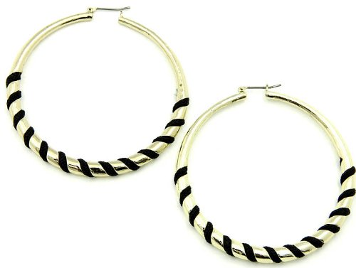 EARRING METAL FABRIC CORD BLACK Fashion Jewelry Costume Jewelry fashion accessory Beautiful Charms