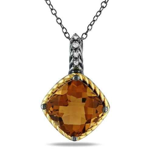 Yellow Silver 5 1/2 CT TGW Cognac quartz 0.02 CT TDW Diamonds Fashion Pendant (G-H, I3)