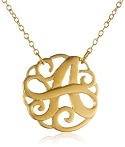 """Gold Plated Sterling Silver Small Monogram Initial 'A' Necklace, 18"""""""