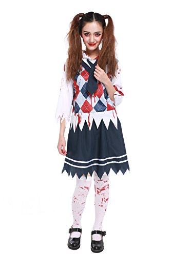[Women's Scary Zombie Schoolgirl Costume Bloody Student Uniform Halloween Outfit] (Zombie School Girl Adult Womens Costumes)
