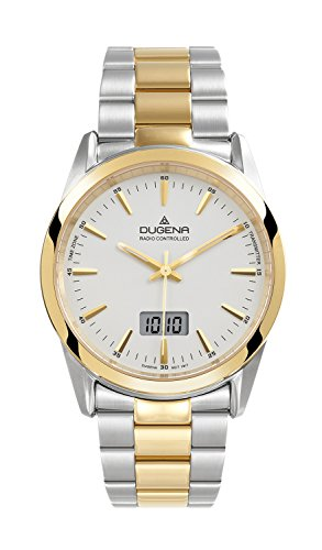 Dugena Dugena Basic 4460474 - Reloj analógico de cuarzo para hombre, correa de acero inoxidable chapado multicolor (radio)