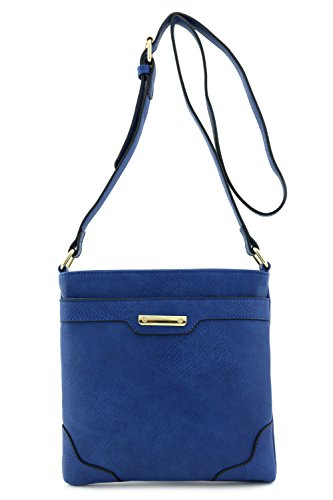 Women's Medium Size Solid Modern Classic Crossbody Bag with Gold Plate (Navy) (Blue Crossbody Purse compare prices)