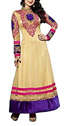 The Magical Thread Women's Net Anarkali Unstitched Dress Material (MR-DN116_Beige_Free Size)