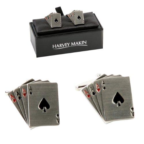 Paio giocatori di carte da gioco 4asse, rodiato, Glam regalo ideale per flash, 2pezzi