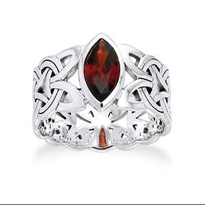 Borre Knot Garnet Ellipse Viking Braided Wedding Band Norse Celtic Sterling Silver Ring Size 4(Sizes 4,5,6,7,8,9,10,11,12,13,14,15)