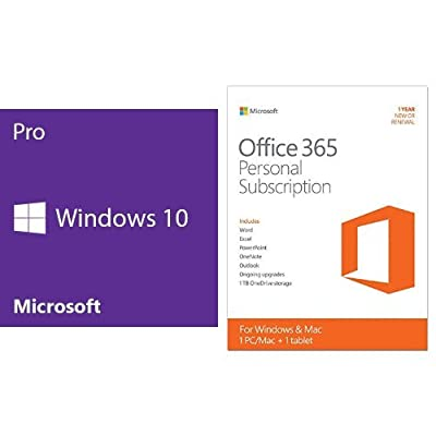 Windows 10 Pro 64 Bit System Builder OEM with Microsoft Office 365 Personal 1 Year Key Card