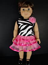 2pc Set Zebra Print Shirt and Hot Pink Mini Skirt Designed for 18 Inch Doll Like the American Girl Dolls Shoes Sold Separately
