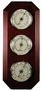 "17"" Thermometer-Barometer-Hygrometer - Cherry - 0-3,000ft"