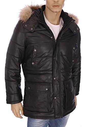 Kaporal-Premium-Piumino con cappuccio in pelle 3/4 Laker inverno 2016, colore: nero nero XL