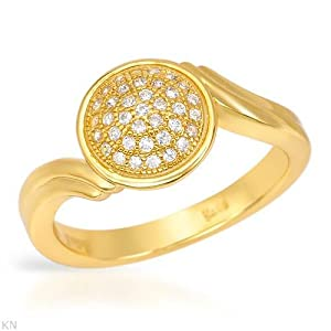 Gold Plated Silver 0.17 CTW Cubic Zirconia Ladies Ring. Ring Size 7. Total Item weight 3.3 g.