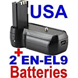 EN-EL9 / EN-EL9A Compatible Battery Grip for Nikon D40 / D40X / D60 + 2 EN-EL9 Batteries