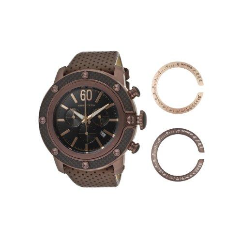 Glam Rock Sobe Tech Homme 50mm Bracelet Cuir Boitier Plaqué Ion Acier Inoxydable Quartz Montre GR33110