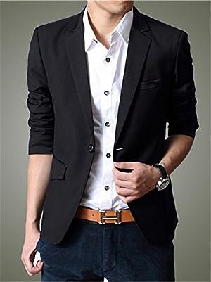 LIFE_SHOP メンズ ファッション ジャケット 1つボタン フラップポケット 内ポケット ビジネス カジュアル 細身 テーラード アウター