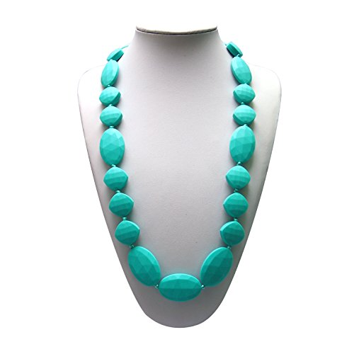 SillyMunk TM Silicone Teething Necklace Flat Faceted - Teal (TEAL)