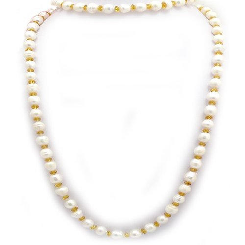 Candygem 40 Inch 8mm White Freshwater Cultured Baroque Pearl & Yellow Crystal Necklace From Aaliyah Hong's New Designer Collection.