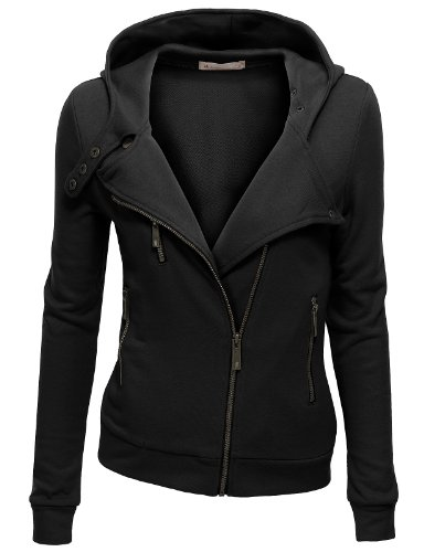 Doublju Women Soft Solid Color 3/4 Sleeve Plus Size Outwear BLACK,XL