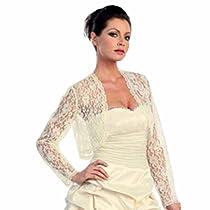Ivory White Long Sleeve Lace Bolero Dressy Shrug Jacket Size Medium