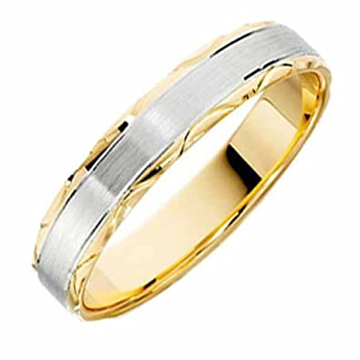 18ct Yellow & White Gold Wedding Ring Width 5mm