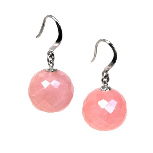 Lola Rose Faceted Ball Earrings In Rose Quartz