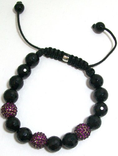 Just Give Me Jewels Yoga Style Purple Pave Crystal and Black Onyx Bead Bracelet