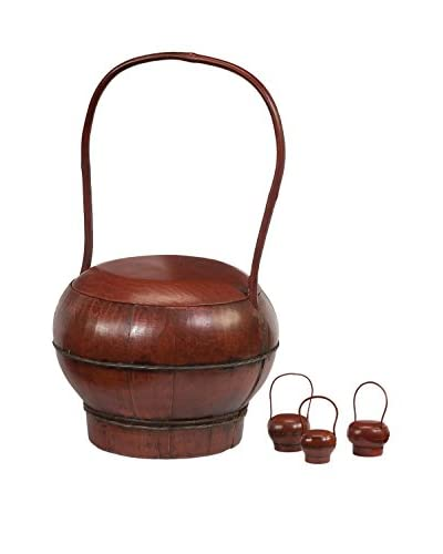 Antique Lacquered Tea Caddy Set