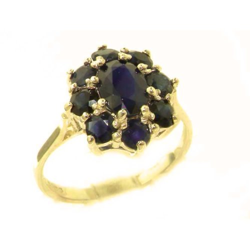 Luxury Ladies Solid 14K Yellow Gold Genuine Natural Sapphire Cluster Ring - Size 9.75 - Finger Sizes 5 to 12 Available - Perfect Gift for Birthday, Christmas, Valentines Day, Mothers Day, Mom, Mother, Grandmother, Daughter, Graduation, Bridesmaid.