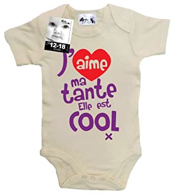 Dirty Fingers - J'aime ma tante. Elle est cool x - Body bébé, 100% coton, 0-3 mois, Beige