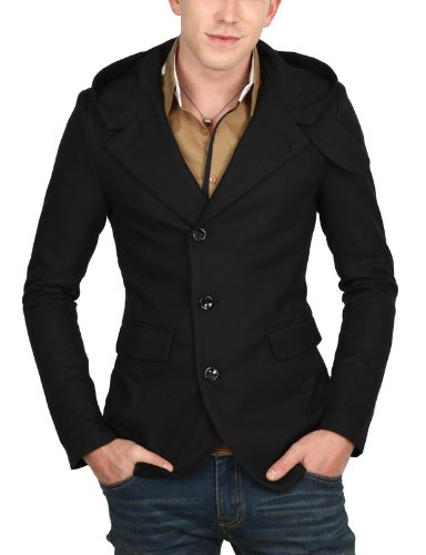 9Xis Mens Casual Long Sleeve Button Hoodie Jacket BLACK S (9MO024)