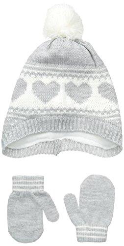 Carters Baby-Girls Fair Isle Heart Hat and Mitten Set, Grey, 0-9 Months