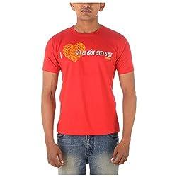 Chennai Gaga Men's Round Neck Cotton T-shirt I Luv Chennai Tamil 113-3-833-Red-L