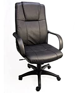 """Regent"" Leather Executive Office Chair / High Back w/ Gas Lift & Tilt and Ergonomic Lumbar Support"