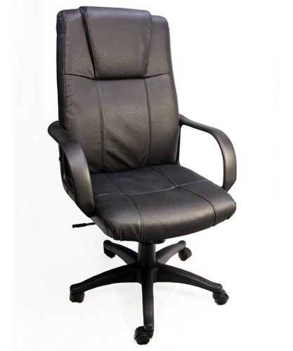 Royale Leather Executive Office Chair / High Back w/ Gas Lift & Tilt and Ergonomic Lumbar Support