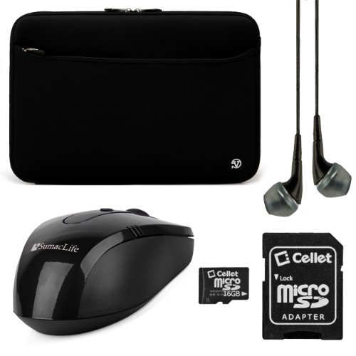 Neoprene Sleeve Cover (Black) For Lenovo Thinkpad / Thinkpad Edge / Essential / Ideapad 15.6 Inch Laptops + Black Vangoddy Headphones + Black Sumaclife Usb Mouse + 16Gb Memory Card