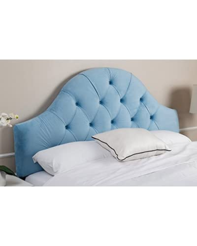 Abbyson Living Celestia Tufted Arch Velvet Headboard, Sky Blue, Full/Queen