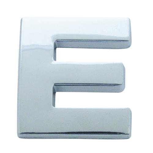 Chrome Look Letter E Car Badge/ Decal - Self Adhesive