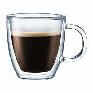 Bodum 10602-10 Bistro Set 2 Mugs à Espresso Double Paroi Avec Anse 14 cl