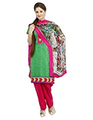 Utsav Fashion Women's Green Cotton Jacquard Readymade Salwar Kameez-Medium