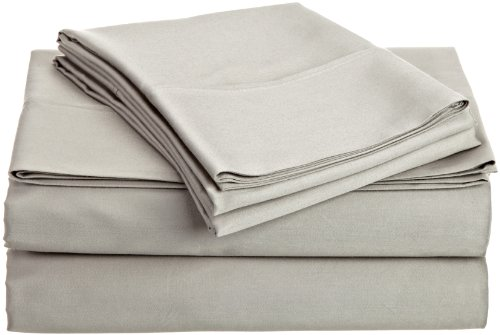 Hn International Group Castle Hill 500 Thread Count 100-Percent Egyptian Cotton Solid Sheet Set, King Size Stone