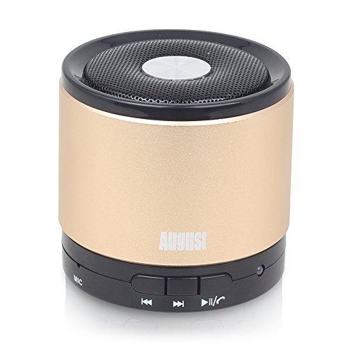 August-MS425-Mobiler-Bluetooth-v40-Lautsprecher-mit-Mikrofon-Schnurloser-Speaker-und-Freisprecheinrichtung-fr-Smartphones-und-Handys-gold