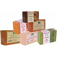 Khadi Mauri Haldi-Chandan Aloe-Vera Khas Papaya Orange & Strawberry Soaps - Combo Pack Of 6 - Premium Handcrafted...