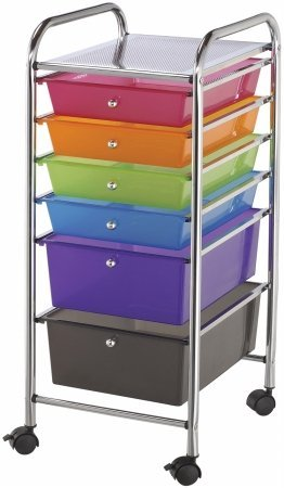 Storage Cart w/6 Drawers: Multi-Color