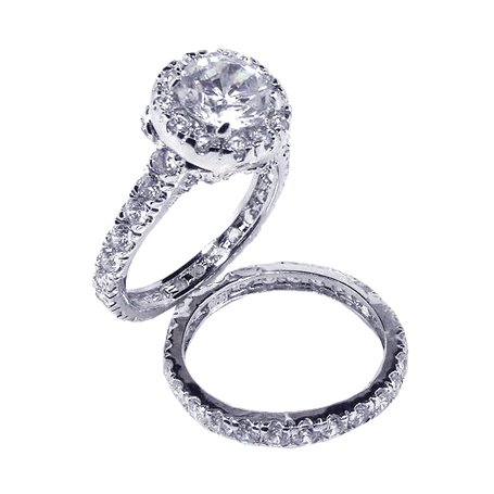 .925 Sterling Silver Sparkling Brilliant Cut Eternity Bands , Hand Set with Round Shape Cubic Zirconia Stones Wedding Ring, Comes in Gift Box and Pouch. (7)