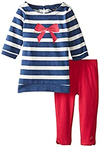 Nautica Baby-Girls Infant 2 Pack 3/4 Sleeve Stripe Top and Legging Set, Blue Heather, 18 Months