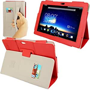 Imitation Sheepskin Texture Leather Case with Holder Sleep Wake-up Function Elastic Hand Strap for Asus PadFone3 Infinity (Red)