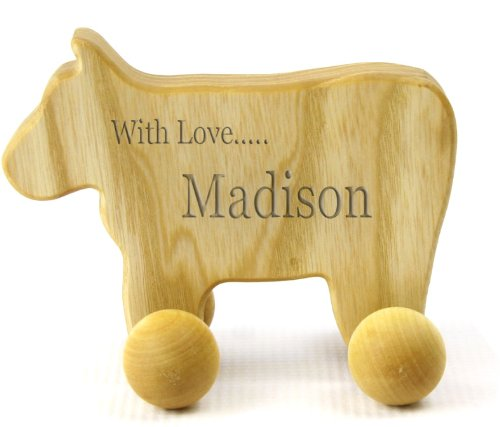 Personalized Eco-Friendly Wooden Cow Push Toy For Babies & Toddlers front-678479
