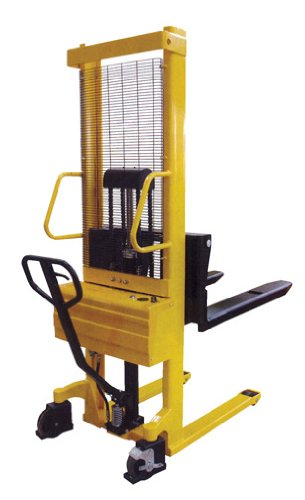 "Beacon Combination Hand Pump And Electric Stacker; Overall Size (W X L): 26-3/4"" X 42""; Lowered Height: 3-11/32""; Raised Height: 63""; Capacity: 2,000 Lbs; For Use With: Skids Only; Model# Bse/Hp-63"