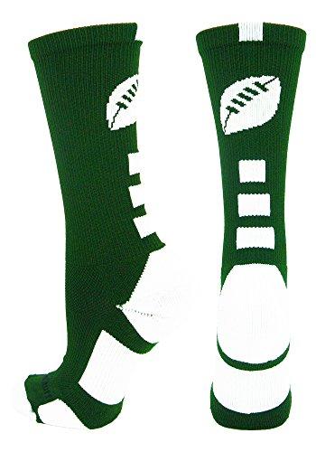 MadSportsStuff Football Logo Crew Socks, Medium, Dark Green/White