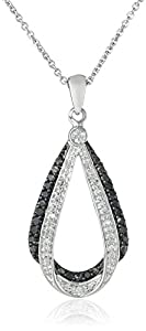 Sterling Silver and Black and White Diamond Pendant Necklace (0.25 cttw, ), 18
