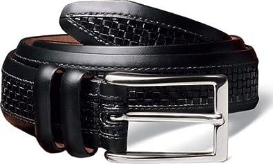 Allen Edmonds Men's Woven Inlay Belt Black w/Nickle Buckle 34